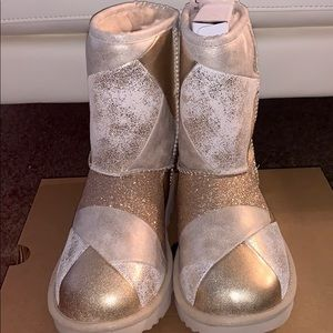 Gold glittered patched uggs